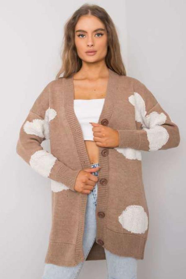 Ciemnobeżowy sweter na guziki Ivee