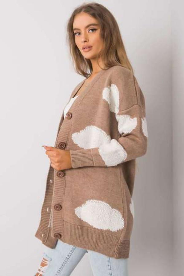 Ciemnobeżowy sweter na guziki Ivee 1