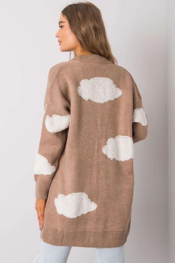Ciemnobeżowy sweter na guziki Ivee 2