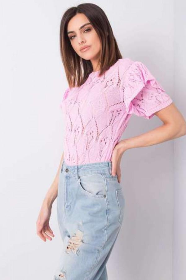 Różowy sweter ażurowy Nicoletta 1
