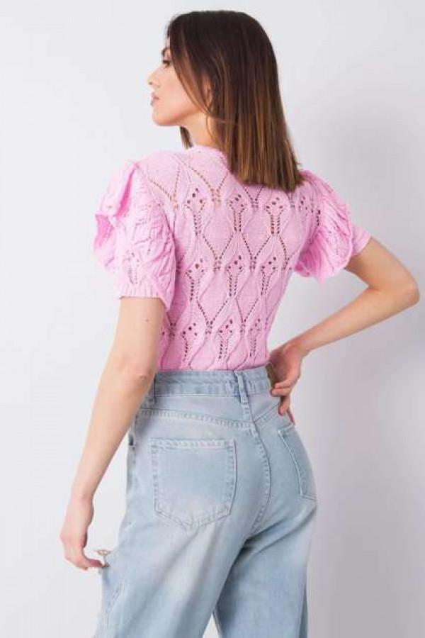 Różowy sweter ażurowy Nicoletta 2