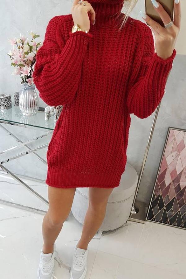 Sweter Sukienka z golfem czerwony 1