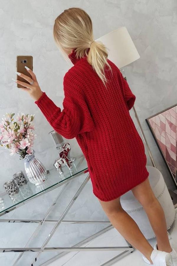Sweter Sukienka z golfem czerwony 2