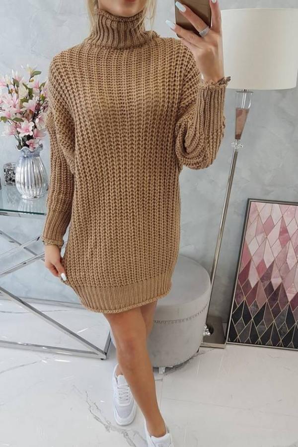 Sweter Sukienka z golfem cappuccino