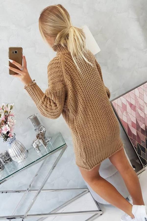 Sweter Sukienka z golfem cappuccino 1