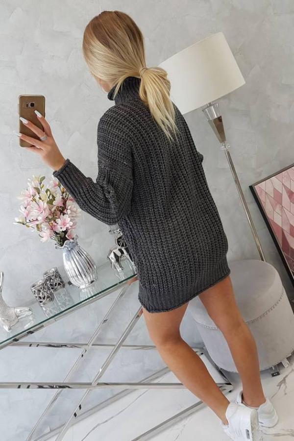 Sweter Sukienka z golfem grafitowy 2