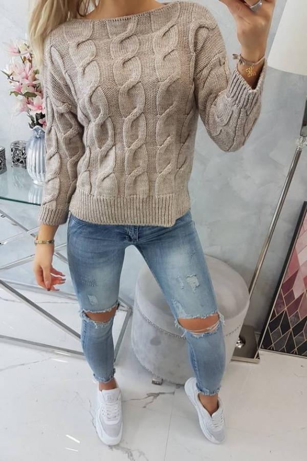 Sweter krótki z dłuższym tyłem ciemny beżowy