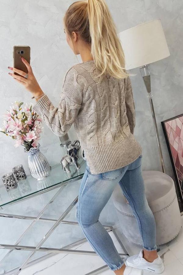 Sweter krótki z dłuższym tyłem ciemny beżowy 1