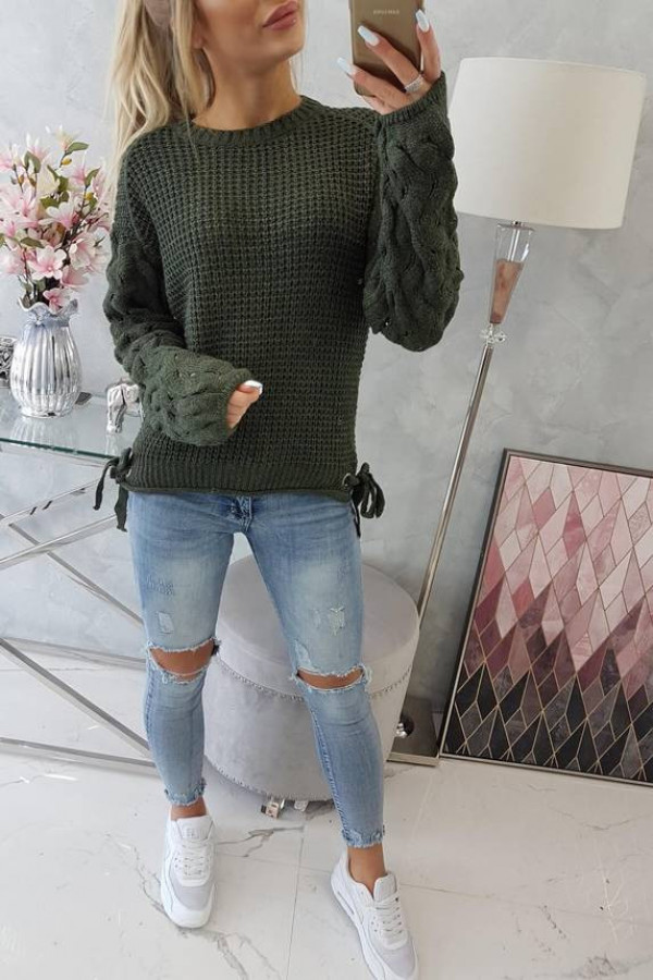 Sweter wiązany u dołu khaki