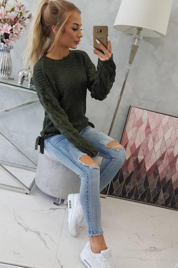 Sweter wiązany u dołu khaki 1